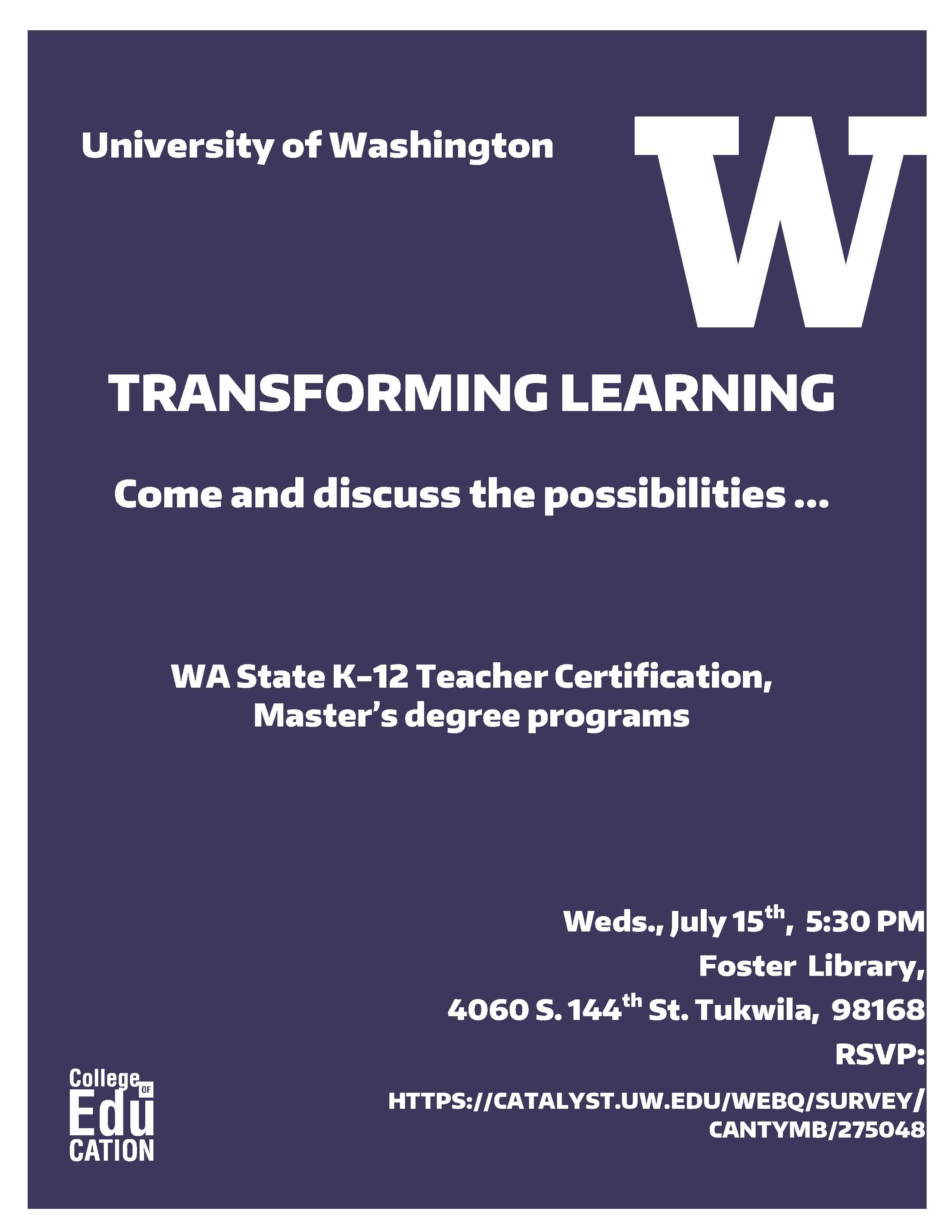 Teacher Preparation Programs Information Session Uw College Of