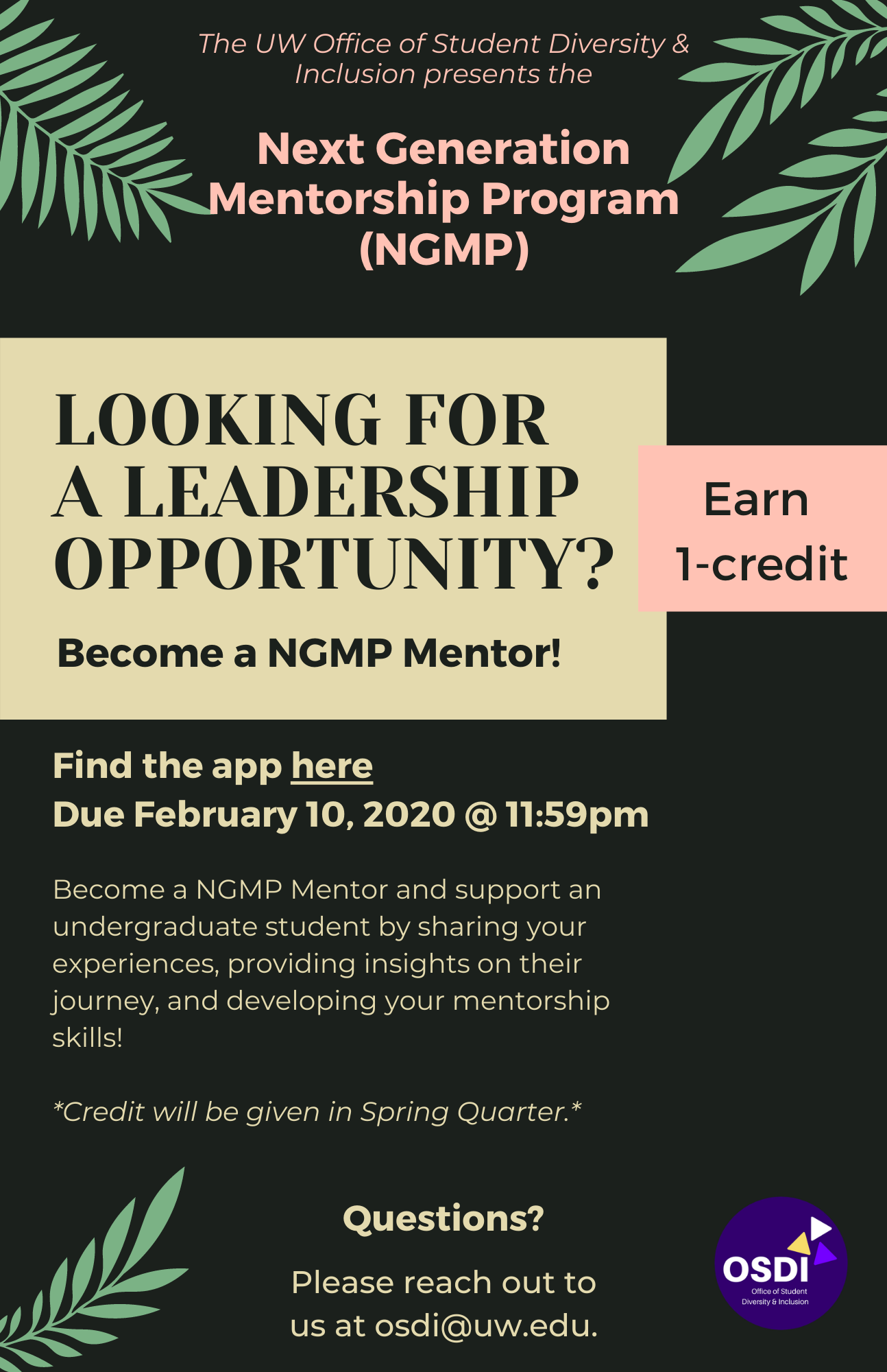 Become a NGMP Mentor if you are looking for a leadership opportunity and earn 1 credit in Spring 2021! Apply below.